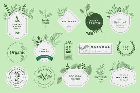Organic and natural food and products signs. Vector illustrations for products promotion, packaging design, web design, business presentation, marketing material. Vectores