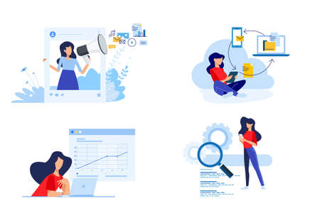 Set of people concept illustrations. Vector illustrations of social media, digital marketing, cloud computing, busines analysis, seo.