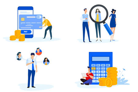 Set of people concept illustrations. Vector illustrations of m-commerce, online payment, e-banking, communication, human resources and career, accounting. Ilustração