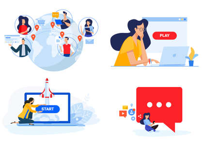 Set of people concept illustrations. Vector illustrations of social network, internet community, video streaming, startup, launching a web project.