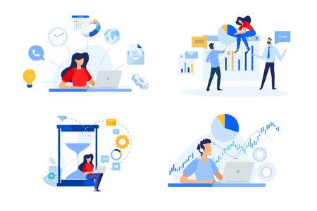 Set of people concept illustrations. Vector illustrations of business plan, project management, time management, data analysis, stock market support Ilustração