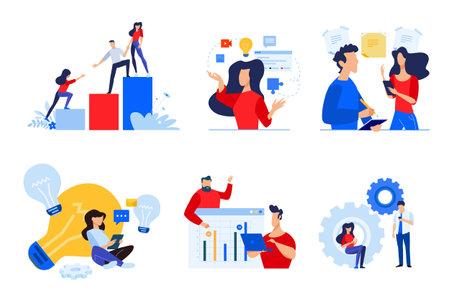 Set of people concept illustrations. Vector illustrations of teamwork, task management, project development, startup, brainstorming, business plan.