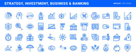 Set of flat line icons of strategy, investment, business and banking. Vector concepts for website and app design and development. 向量圖像