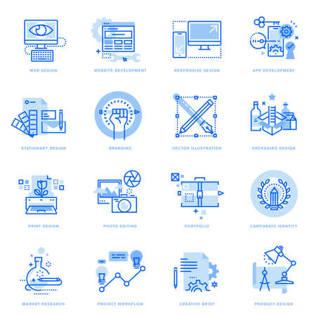 Set of flat line icons of graphic and web design and development. Vector concepts for website and app design and development, business presentation and marketing material. Ilustração