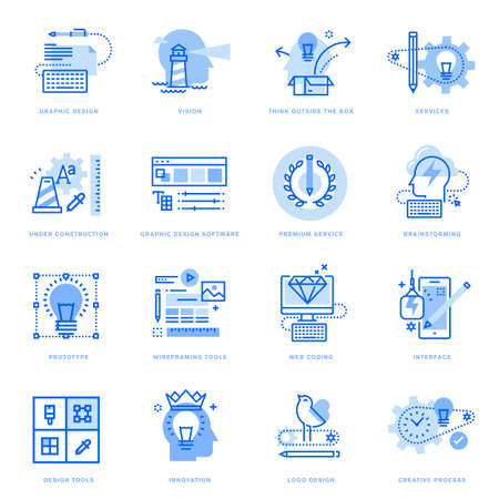 Set of flat line icons of graphic design and creative process. Vector concepts for website and app design and development, business presentation and marketing material. Ilustração