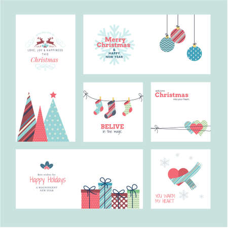 Set of Christmas and New Year 2021 greeting cards. Vector illustration concepts for graphic and web design, social media banner, marketing material. Ilustração