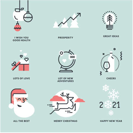 Christmas and New Year 2021 signs set. Modern vector illustration concepts for greeting card, website and mobile website banner, party invitation card, posters, social media banners, marketing materia