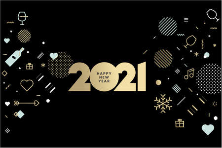 Happy New Year 2021. Vector illustration concept for background, greeting card, website and mobile website banner, party invitation card, social media banner, marketing material. Ilustração