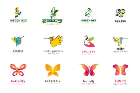 Set of logo design templates. Vector illustrations on the topic of nature, animal, ecology, environment, logistics, beauty and fashion, food.