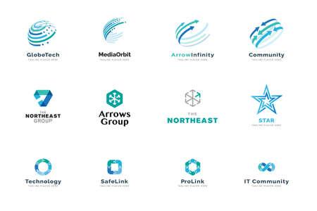 Set of logo design templates. Vector illustrations on the topic of business, technology, network, social media, Internet community, logistics. Ilustração