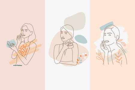 Set of modern line woman concepts for beauty, cosmetics, healthcare, fashion. Vector illustrations for graphic and web design, marketing material, product presentation, social media, textile design.