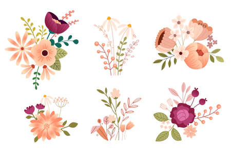 Set of flower illustrations for beauty, nature, healthcare and natural products, cosmetics, fashion. Vector concepts for graphic and web design, packaging design, marketing material, textile design.