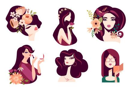 Set of woman illustration concepts for beauty, cosmetics, fashion. Flat design vector for graphic and web design, marketing material, social media, textile design. Ilustração