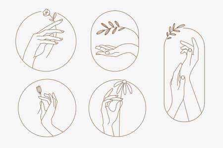 Set of modern line hands concepts for beauty, cosmetics, healthcare, body care, fashion. Vector illustration elements for graphic and web design, marketing material, product presentation, social media