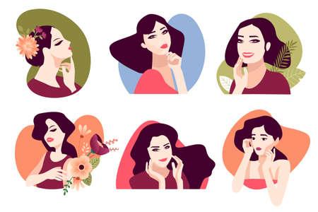 Set of woman illustrations for beauty, cosmetics, makeup, healthcare, fashion. Flat design vectors for graphic and web design, marketing material, product presentation, social media, textile design. Ilustração