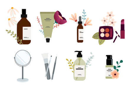 Set of packaging and accessories for natural beauty products, cosmetics, makeup. Vector illustrations for graphic and web design, marketing material, product presentation, social media. Ilustração