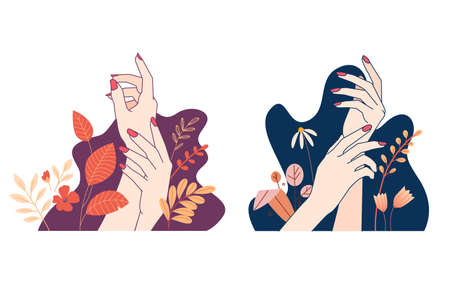 Set of hands illustration concepts for beauty, cosmetics, healthcare, manicure, pedicure, skin care. Vector elements for graphic and web design, marketing material, product presentation, social media. Ilustração