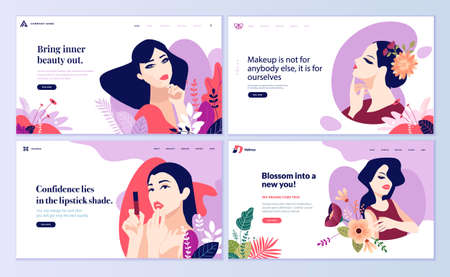 Web page design templates set for beauty, cosmetics, makeup, natural products, healthy life. Modern flat design vector illustration concepts for website and mobile website development.