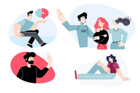 Set of flat design people concepts for business and communication. Vector illustrations for graphic and web design, business presentation, marketing material.