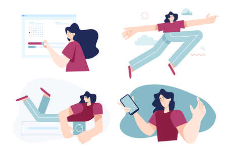 Set of flat design people concepts for business and technology. Vector illustrations for graphic and web design, business presentation, marketing material.