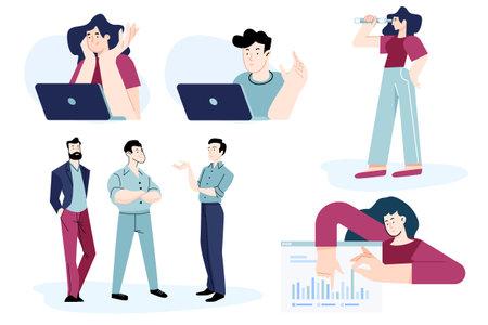 Set of flat design people concepts for business, technology, online communication, meeting. Vector illustrations for graphic and web design, business presentation, marketing material. Ilustração