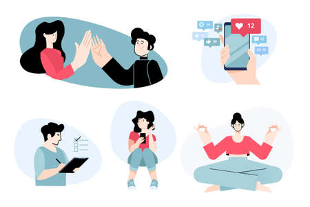 Set of flat design people concepts for communication, social media, daily activities. Vector illustrations for graphic and web design, business presentation, marketing material.