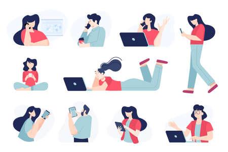 Set of flat design people concepts of communication, use of mobile, tablet and laptop, social network. Vector illustrations for graphic and web design, business presentation, marketing material. Ilustração