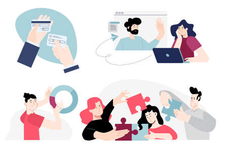 Set of flat design people concepts of banking, payment, credit card, business solutions, teamwork, analysis, online communication, conference call. Vector illustrations for graphic and web design.