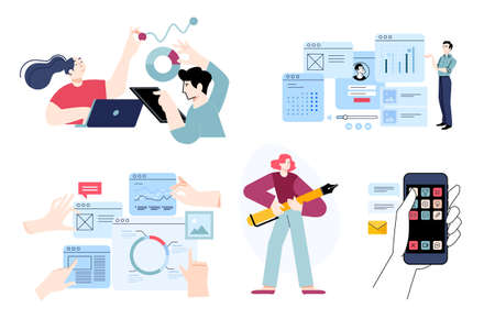 Set of flat design people concepts of seo, analysis, market research, data analytics, statistics, mobile services, communication, graphic design. Vector illustrations for graphic and web design. Ilustração