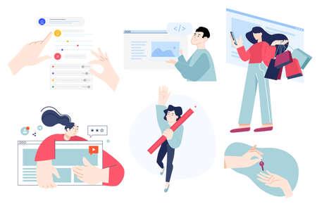 Set of flat design people concepts of web development, e-commerce, shopping, star rating, task management, app setting, copywriting, content management, design, key to success. Ilustração