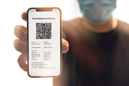Digital certificate of vaccination against. Travel concept during pandemic.