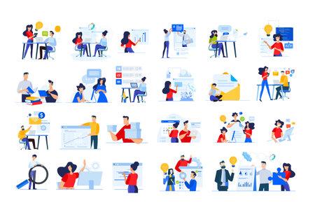 Set of modern flat design people icons  of distance education, web development, cloud computing, project development, task management, online marketing, technology, technical support, startup, busines