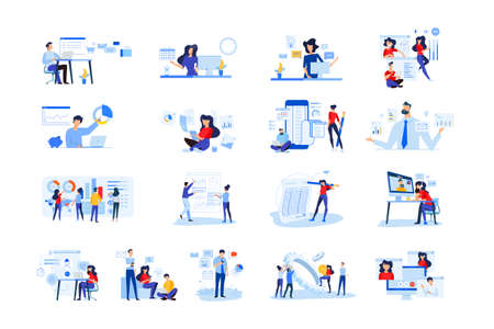 Set of modern flat design people icons  of business analytics and planning, video and conference call, business app, seo, market research, online support, accounting, data analysis, teamwork. Ilustração