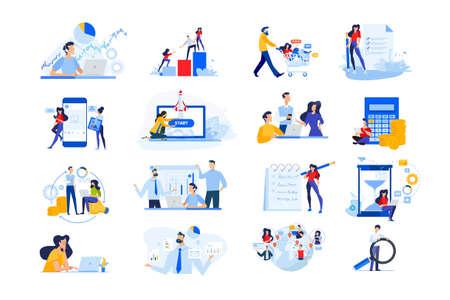 Set of modern flat design people icons. Vector illustration concepts of startup, time management, social network, e-commerce, data analytics, market research, business presentation, finance, marketing Ilustração
