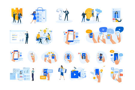 Set of modern flat design people icons. Vector illustration concepts of networking, online communication, business, technology, shopping, ebanking, security, project management, mobile app and service Ilustração