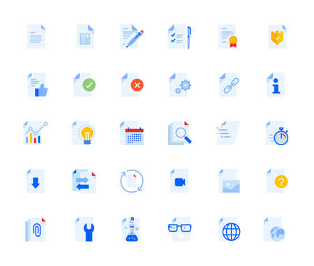 Document icons set for personal and business use. Vector illustration icons for graphic and web design, app development, management, marketing material and business presentation.