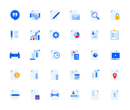 Business document icons set for personal and business use. Stock Illustratie