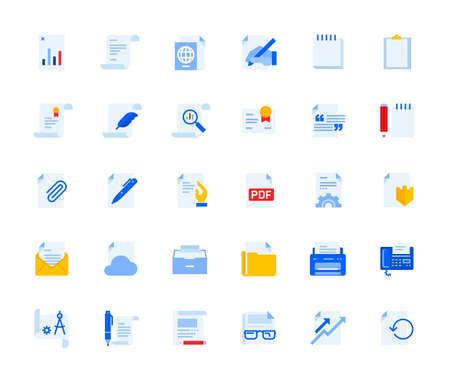 Office and management document icons set for personal and business use. Vector illustration icons for graphic and web design, app development, management, marketing material and business presentation. Stock Illustratie