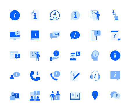 Info and support icons set for personal and business use. Vector illustration icons for graphic and web design, app development, marketing material and business presentation.