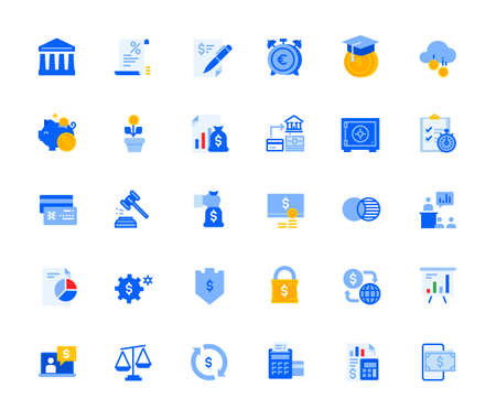 Banking icons set for personal and business use. Vector illustration icons for graphic and web design, app development, marketing material and business presentation.