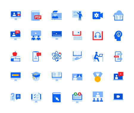 Video call and online meeting icons set for personal and business use. Vector illustration icons for graphic and web design, app development, marketing material and business presentation. Stock Illustratie