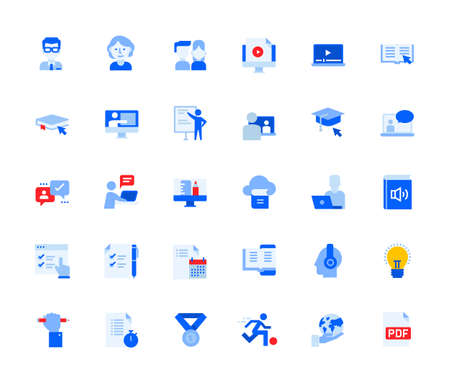 Distance education icons set for personal and business use.
