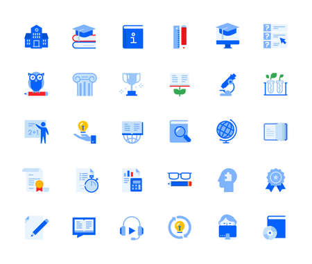 Education icons set for personal and business use. Vector illustration icons for graphic and web design, app development, marketing material, school and university presentation. Stock Illustratie