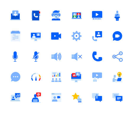 Video call and online communication icons set for personal and business use. Vector illustration icons for graphic and web design, app development, marketing material and business presentation.