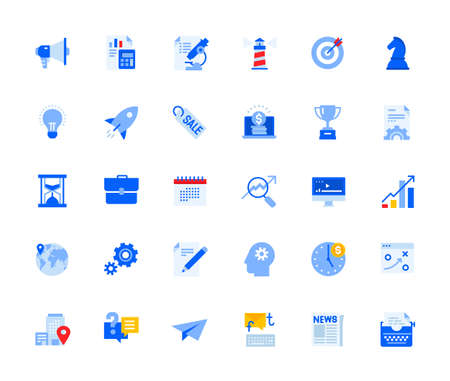 Business and marketing icons set for personal and business use. Vector illustration icons for graphic and web design, app development, marketing material and business presentation.