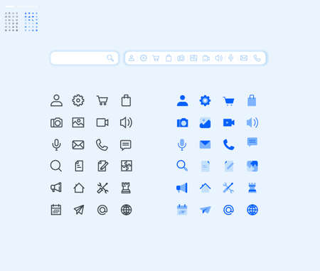 Set of basic icons for smartphone apps and services. Vector illustration 48 x 48 icons for graphic and web design, app development, marketing material and business presentation.