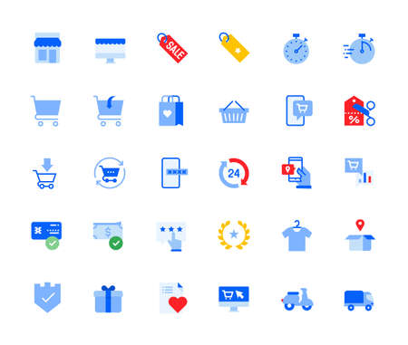 Online shopping icons set for personal and business use. Vector illustration icons for graphic and web design, app development, marketing material and business presentation.