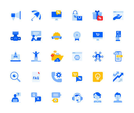 Social network icons set for personal and business use. Vector illustration icons for graphic and web design, app development, marketing material and business presentation. Stock Illustratie