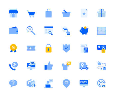 Shopping and e-commerce icons set for personal and business use. Vector illustration icons for graphic and web design, app development, marketing material and business presentation.