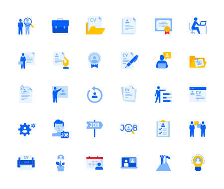 Career and human resources icons set for personal and business use.